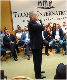 Jack Wheeler speaking in Tirana