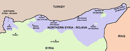 De Facto border of Northern Syria-Rojava (Western Kurdistan)