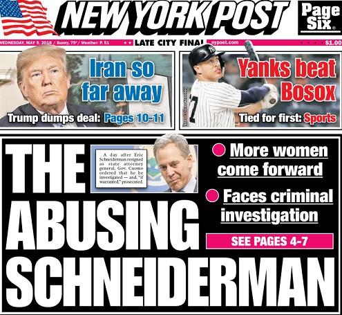NY Post cover, May 8, 2018