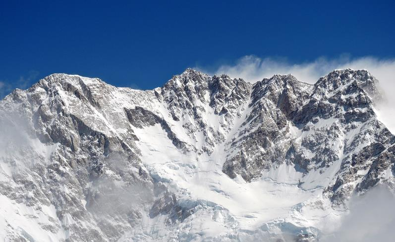Kanchenjunga Main, 3rd highest mountain in the world, 8586m/28,169ft. Entire ridge line above 8000m.