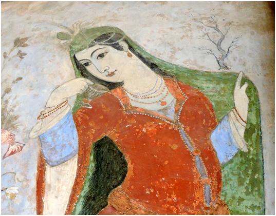 Fresco of a Persian woman, Ali Qapu Palace, Isfahan, early 1600s – JW photo