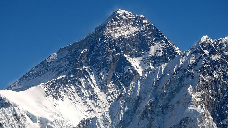 Mount Everest from Scoundrel's View, North Face in Tibet on left, West Face in Nepal on right