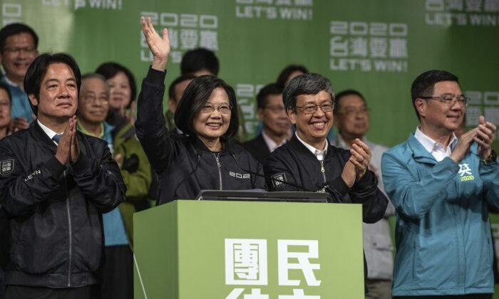 Taiwan President Tsai Ing-wen celebrates her reelection Jan. 11, 2020