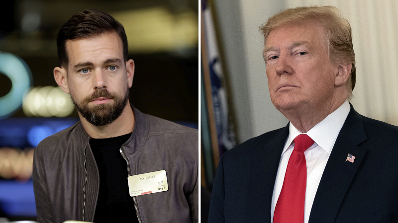 Donald Trump ate Jack Dorsey's lunch today