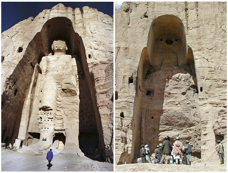 Bamiyan Buddha before and after Taliban barbarism